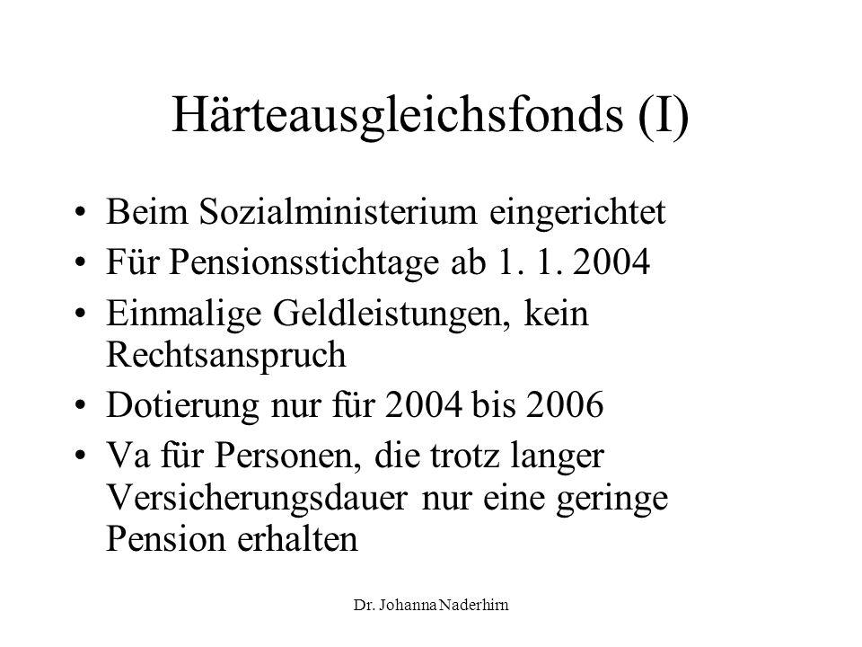 Dr. Johanna Naderhirn Härteausgleichsfonds (I) Beim Sozialministerium eingerichtet Für Pensionsstichtage ab 1. 1. 2004 Einmalige Geldleistungen, kein