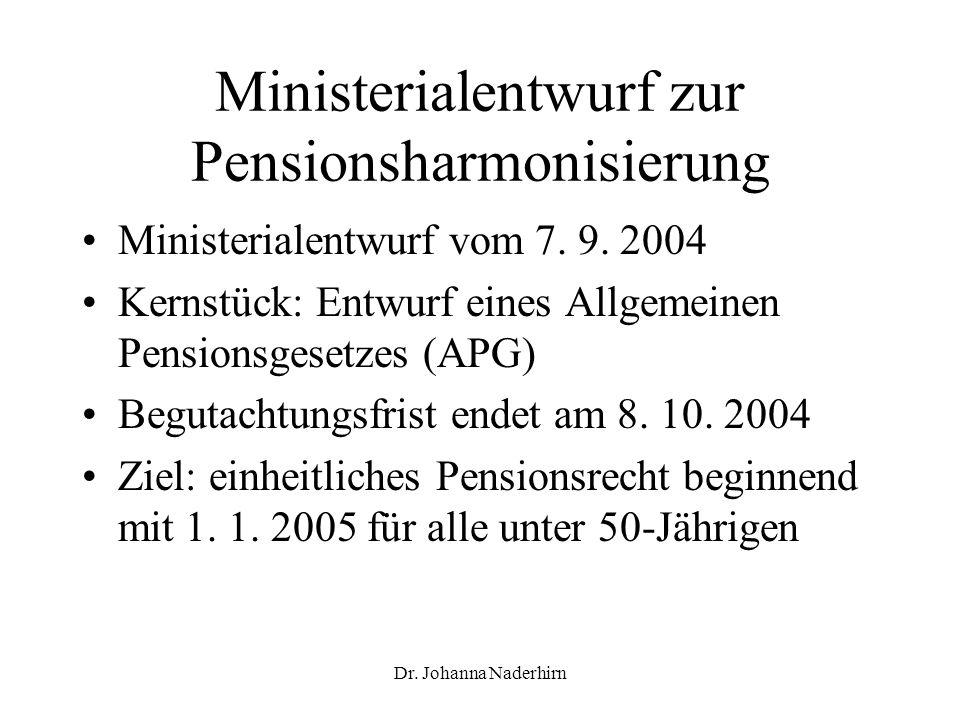 Dr. Johanna Naderhirn Ministerialentwurf zur Pensionsharmonisierung Ministerialentwurf vom 7. 9. 2004 Kernstück: Entwurf eines Allgemeinen Pensionsges