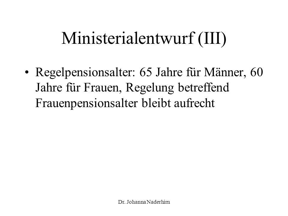 Dr. Johanna Naderhirn Ministerialentwurf (III) Regelpensionsalter: 65 Jahre für Männer, 60 Jahre für Frauen, Regelung betreffend Frauenpensionsalter b