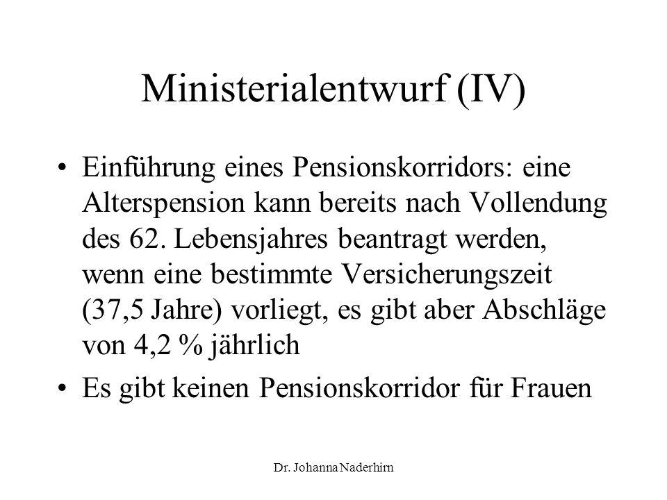 Dr. Johanna Naderhirn Ministerialentwurf (IV) Einführung eines Pensionskorridors: eine Alterspension kann bereits nach Vollendung des 62. Lebensjahres