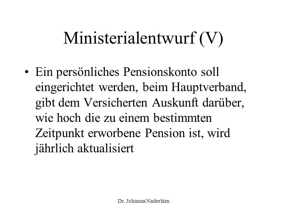 Dr. Johanna Naderhirn Ministerialentwurf (V) Ein persönliches Pensionskonto soll eingerichtet werden, beim Hauptverband, gibt dem Versicherten Auskunf
