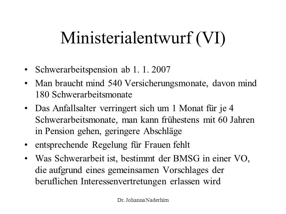 Dr. Johanna Naderhirn Ministerialentwurf (VI) Schwerarbeitspension ab 1. 1. 2007 Man braucht mind 540 Versicherungsmonate, davon mind 180 Schwerarbeit