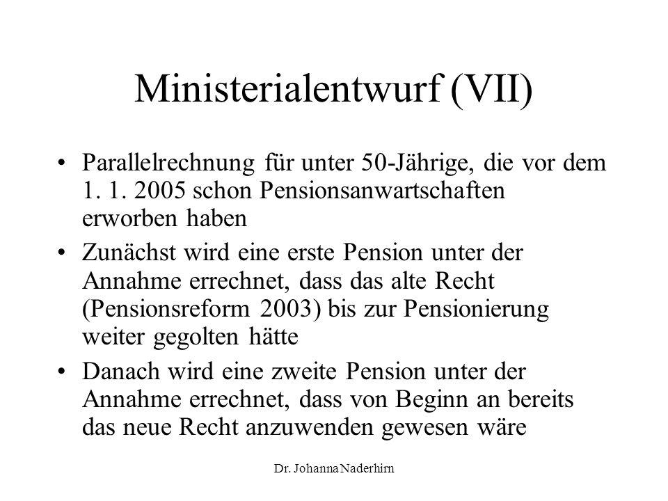 Dr. Johanna Naderhirn Ministerialentwurf (VII) Parallelrechnung für unter 50-Jährige, die vor dem 1. 1. 2005 schon Pensionsanwartschaften erworben hab
