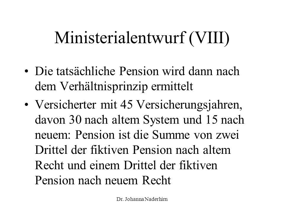 Dr. Johanna Naderhirn Ministerialentwurf (VIII) Die tatsächliche Pension wird dann nach dem Verhältnisprinzip ermittelt Versicherter mit 45 Versicheru