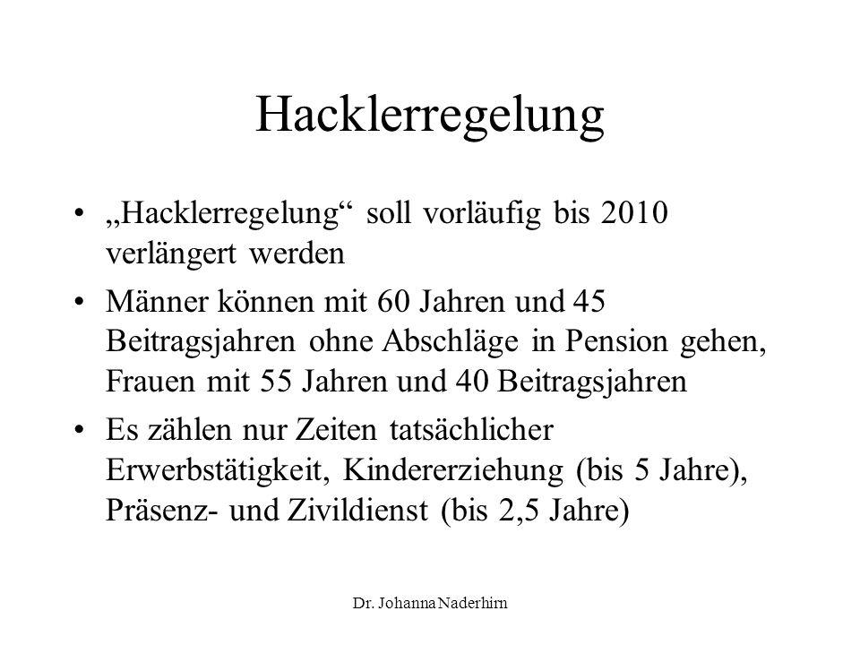 Dr. Johanna Naderhirn Hacklerregelung Hacklerregelung soll vorläufig bis 2010 verlängert werden Männer können mit 60 Jahren und 45 Beitragsjahren ohne