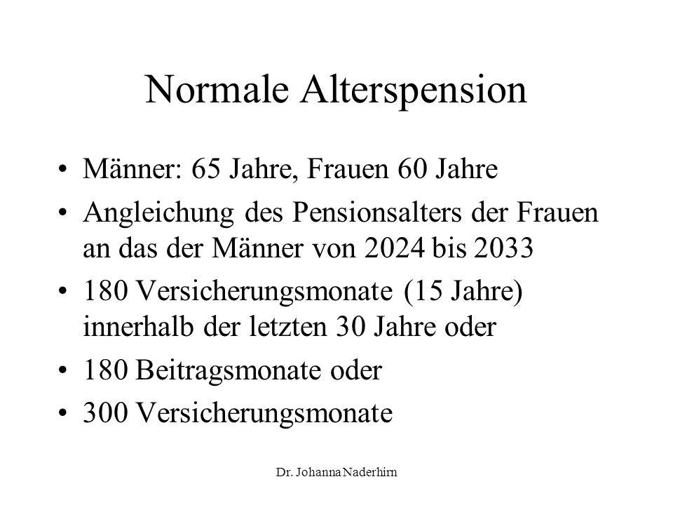 Dr. Johanna Naderhirn Normale Alterspension Männer: 65 Jahre, Frauen 60 Jahre Angleichung des Pensionsalters der Frauen an das der Männer von 2024 bis