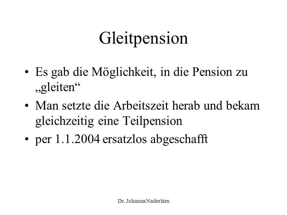 Dr. Johanna Naderhirn Gleitpension Es gab die Möglichkeit, in die Pension zu gleiten Man setzte die Arbeitszeit herab und bekam gleichzeitig eine Teil