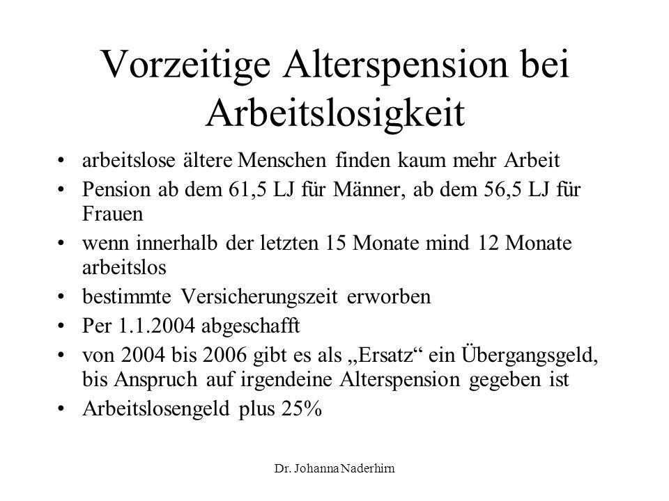 Dr. Johanna Naderhirn Vorzeitige Alterspension bei Arbeitslosigkeit arbeitslose ältere Menschen finden kaum mehr Arbeit Pension ab dem 61,5 LJ für Män