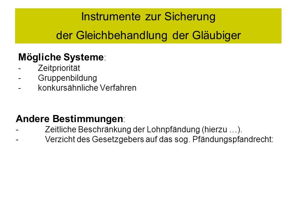 Instrumente zur Sicherung der Gleichbehandlung der Gläubiger Mögliche Systeme : -Zeitpriorität -Gruppenbildung -konkursähnliche Verfahren Andere Bestimmungen : - Zeitliche Beschränkung der Lohnpfändung (hierzu …).
