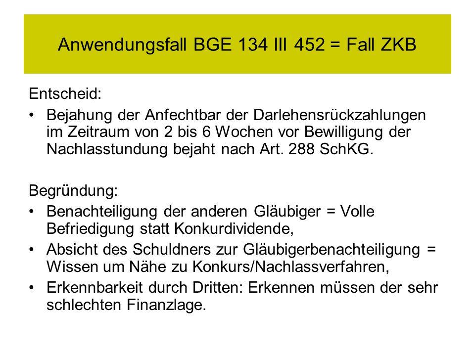 Anwendungsfall BGE 134 III 452 = Fall ZKB Entscheid: Bejahung der Anfechtbar der Darlehensrückzahlungen im Zeitraum von 2 bis 6 Wochen vor Bewilligung der Nachlasstundung bejaht nach Art.