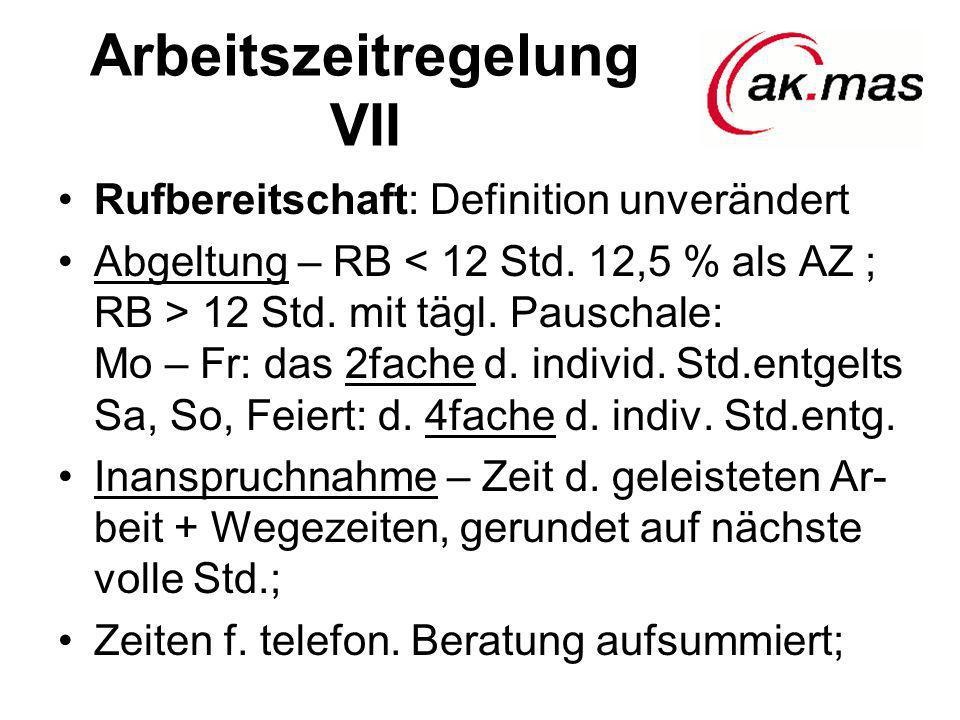 Arbeitszeitregelung VII Rufbereitschaft: Definition unverändert Abgeltung – RB 12 Std. mit tägl. Pauschale: Mo – Fr: das 2fache d. individ. Std.entgel