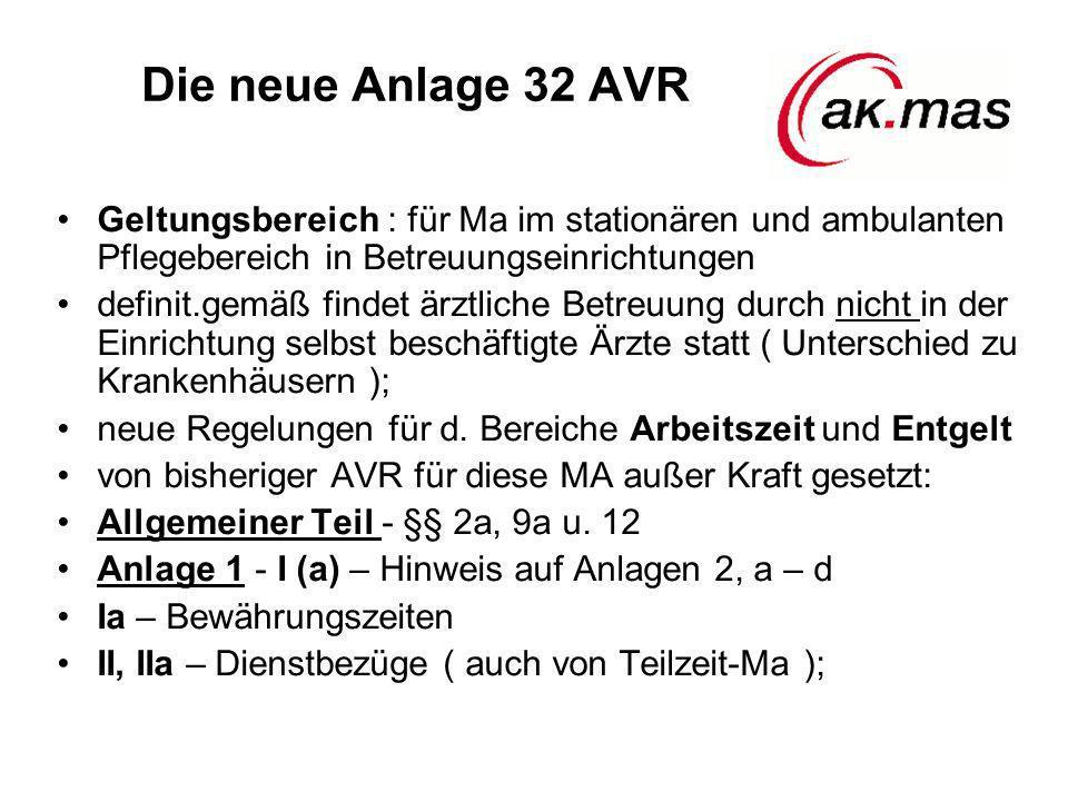 Die neue Anlage 32 AVR Geltungsbereich : für Ma im stationären und ambulanten Pflegebereich in Betreuungseinrichtungen definit.gemäß findet ärztliche