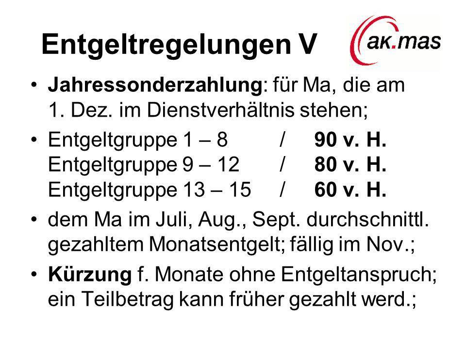 Entgeltregelungen V Jahressonderzahlung: für Ma, die am 1. Dez. im Dienstverhältnis stehen; Entgeltgruppe 1 – 8 / 90 v. H. Entgeltgruppe 9 – 12 / 80 v