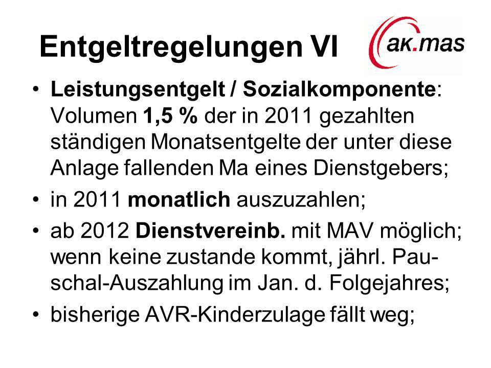 Entgeltregelungen VI Leistungsentgelt / Sozialkomponente: Volumen 1,5 % der in 2011 gezahlten ständigen Monatsentgelte der unter diese Anlage fallenden Ma eines Dienstgebers; in 2011 monatlich auszuzahlen; ab 2012 Dienstvereinb.