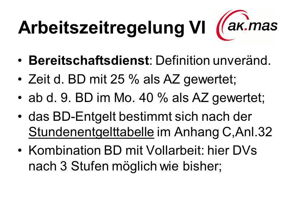Arbeitszeitregelung VI Bereitschaftsdienst: Definition unveränd. Zeit d. BD mit 25 % als AZ gewertet; ab d. 9. BD im Mo. 40 % als AZ gewertet; das BD-