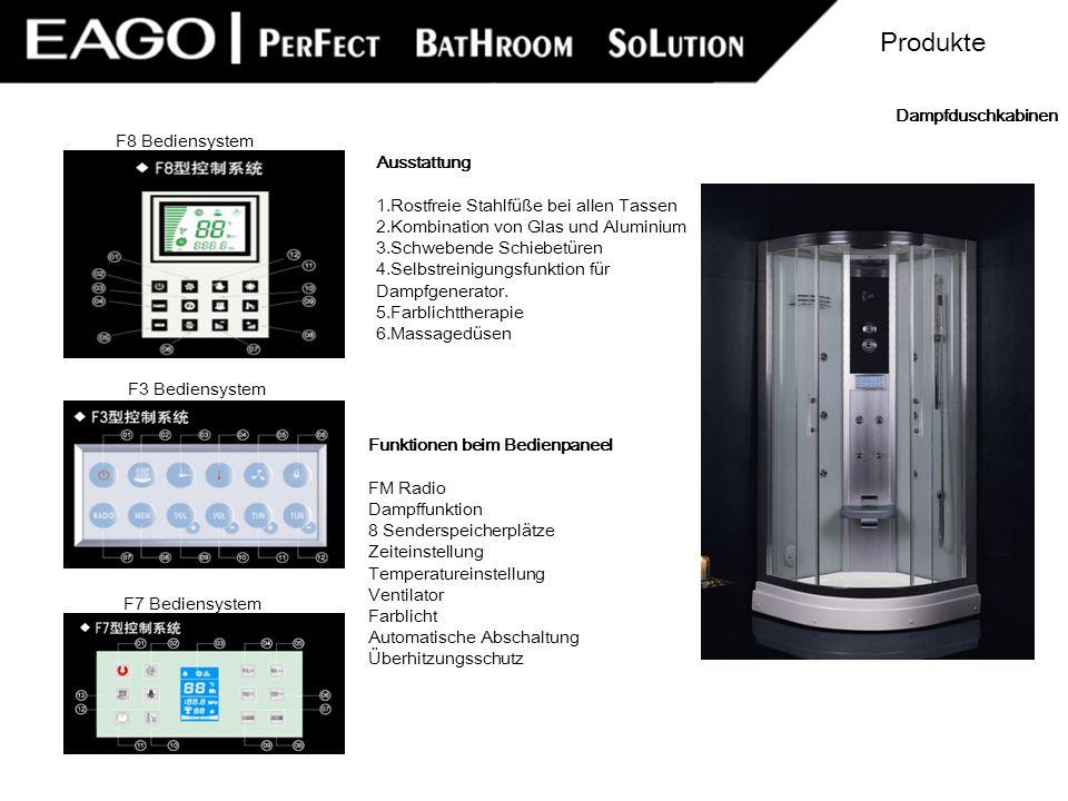Funktionen beim Bedienpaneel FM Radio Dampffunktion 8 Senderspeicherplätze Zeiteinstellung Temperatureinstellung Ventilator Farblicht Automatische Abs