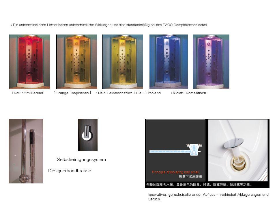 Die unterschiedlichen Lichter haben unterschiedliche Wirkungen und sind standardmäßig bei den EAGO-Dampfduschen dabei. Rot: Stimulierend Orange: Inspi