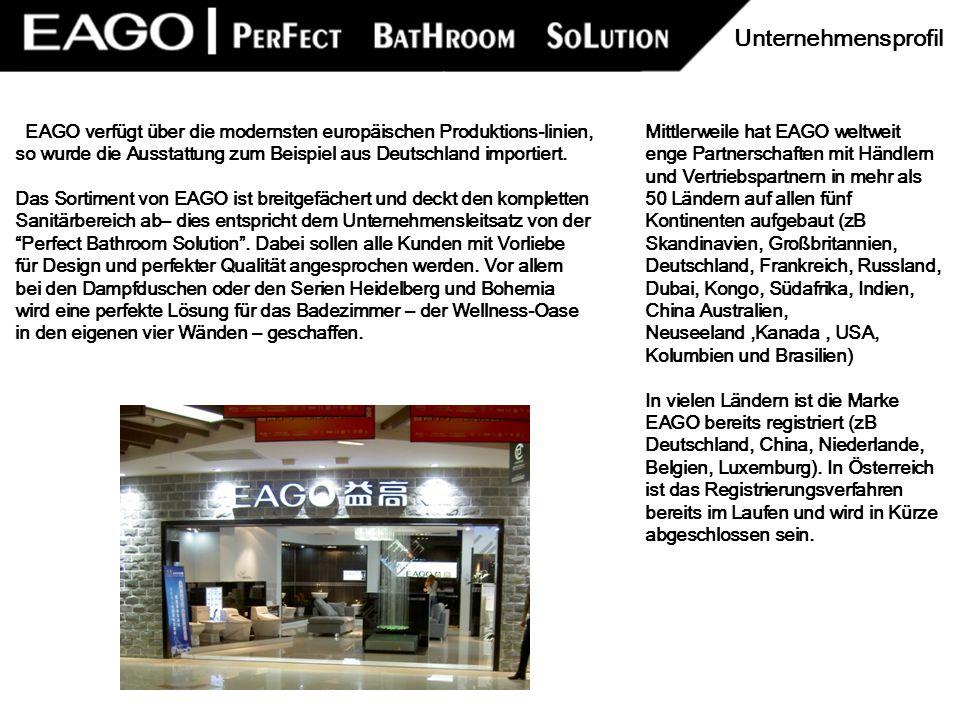 EAGO verfügt über die modernsten europäischen Produktions-linien, so wurde die Ausstattung zum Beispiel aus Deutschland importiert. Das Sortiment von