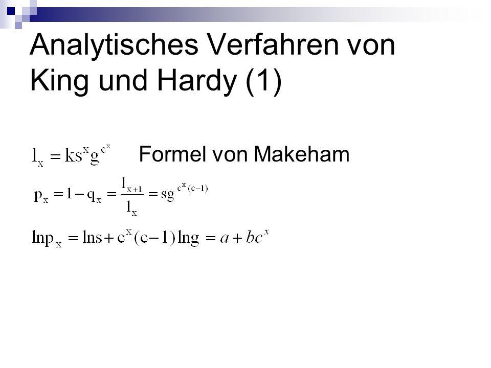 Analytisches Verfahren von King und Hardy (1) Formel von Makeham