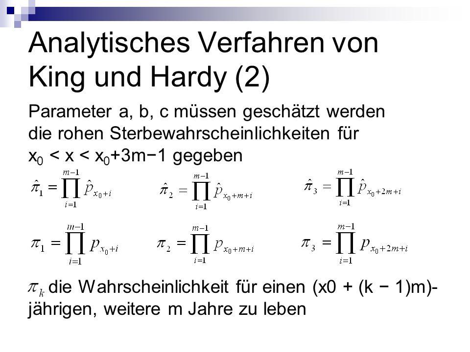 Analytisches Verfahren von King und Hardy (2) Parameter a, b, c müssen geschätzt werden die rohen Sterbewahrscheinlichkeiten für x 0 < x < x 0 +3m1 ge