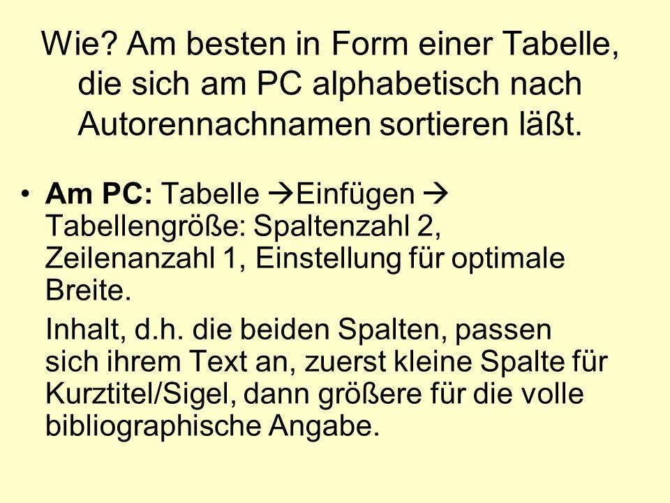 Wie? Am besten in Form einer Tabelle, die sich am PC alphabetisch nach Autorennachnamen sortieren läßt. Am PC: Tabelle Einfügen Tabellengröße: Spalten