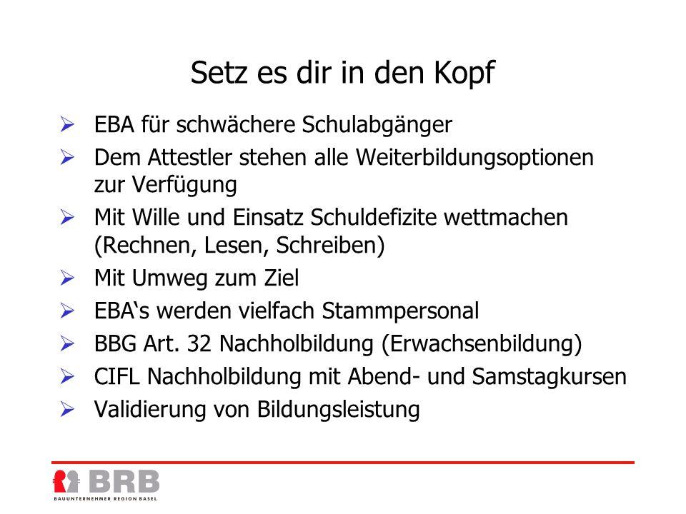 Arbeitsmarkt / Fachkräfte Nicht alle Lehrstellen besetzt Mangel an ausgebildeten Fachkräften (Grundbildung EFZ ) Fehlendes Baustellen Kader Bauvorarbeiter, Bau-Polier (Eidg.