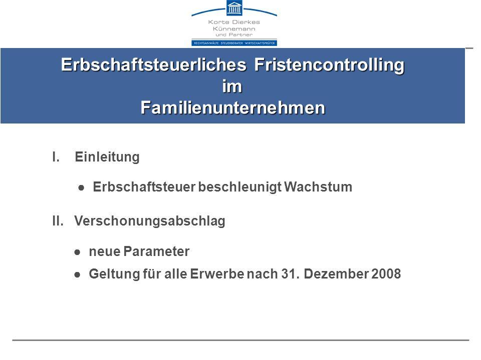 Regelverschonung (Verschonungsabschlag von 85%) Optionsverschonung (Verschonungsabschlag von 100%) 2009201020092010 Lohnsummenfrist (§ 13a Abs.