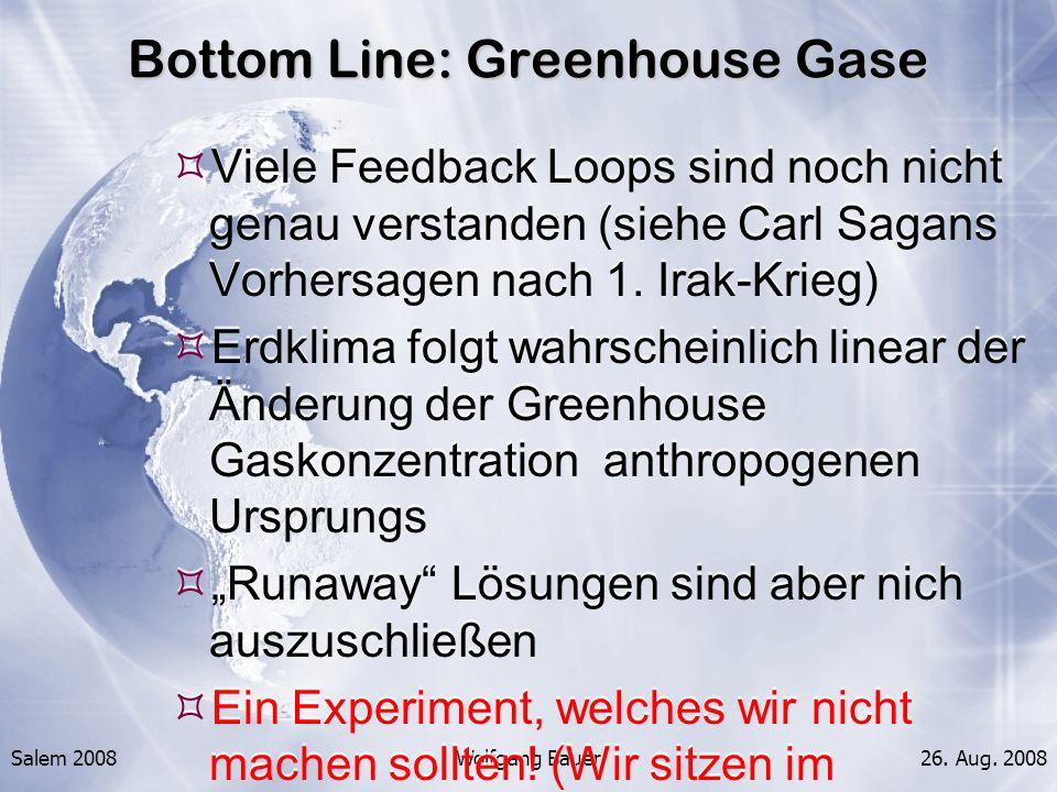 Salem 2008Wolfgang Bauer26. Aug. 2008 Bottom Line: Greenhouse Gase Viele Feedback Loops sind noch nicht genau verstanden (siehe Carl Sagans Vorhersage