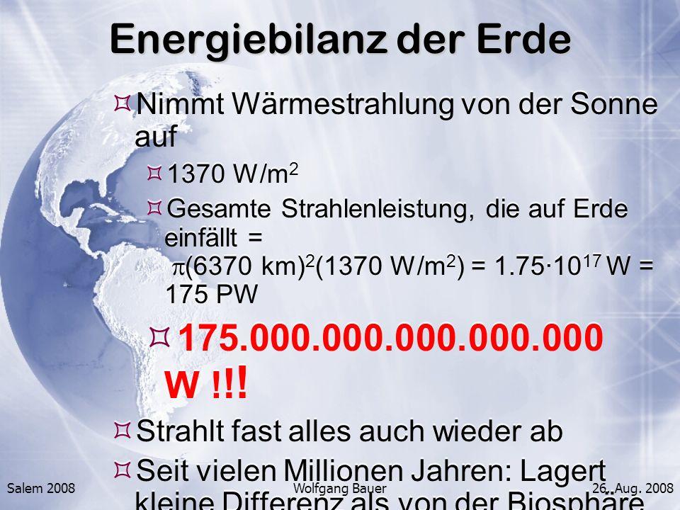 Salem 2008Wolfgang Bauer26. Aug. 2008 Energiebilanz der Erde Nimmt Wärmestrahlung von der Sonne auf 1370 W/m 2 Gesamte Strahlenleistung, die auf Erde