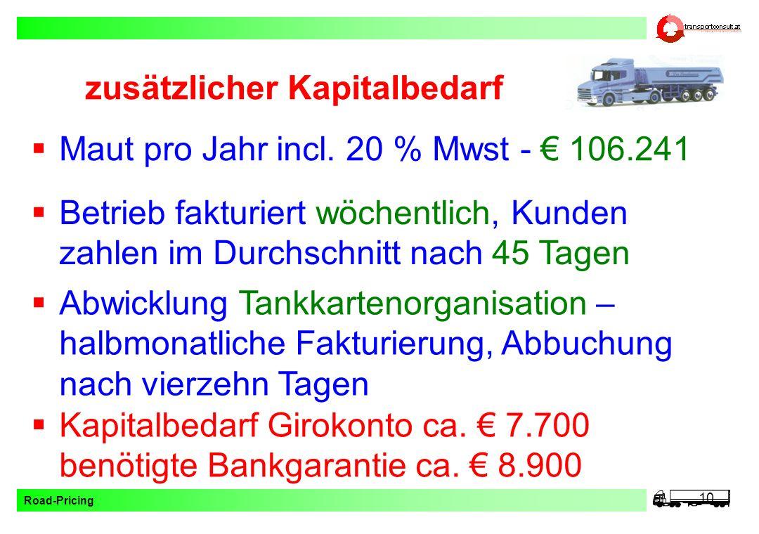 Road-Pricing 10 zusätzlicher Kapitalbedarf Maut pro Jahr incl. 20 % Mwst - 106.241 Betrieb fakturiert wöchentlich, Kunden zahlen im Durchschnitt nach