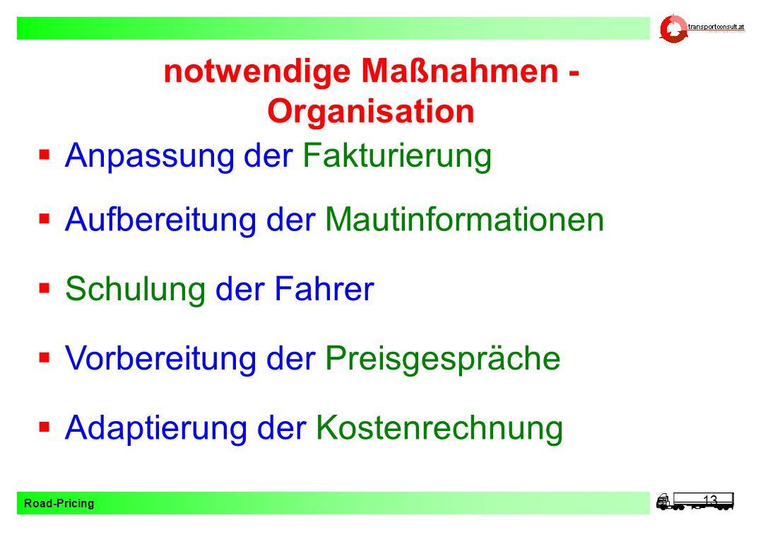 Road-Pricing 13 notwendige Maßnahmen - Organisation Vorbereitung der Preisgespräche Adaptierung der Kostenrechnung Aufbereitung der Mautinformationen