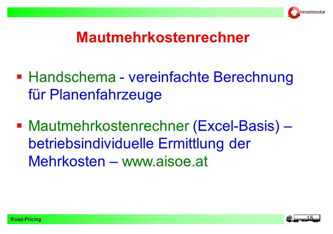Road-Pricing 15 Mautmehrkostenrechner Mautmehrkostenrechner (Excel-Basis) – betriebsindividuelle Ermittlung der Mehrkosten – www.aisoe.at Handschema -