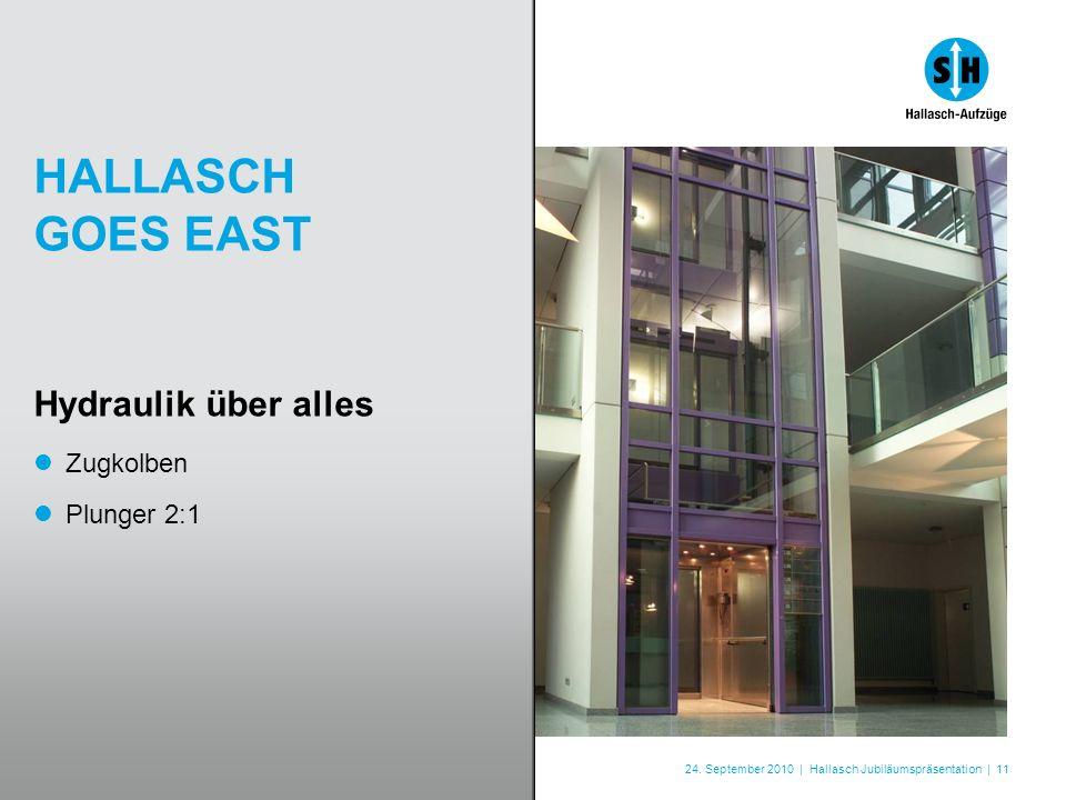 24. September 2010 | Hallasch Jubiläumspräsentation | 11 HALLASCH GOES EAST Hydraulik über alles Zugkolben Plunger 2:1