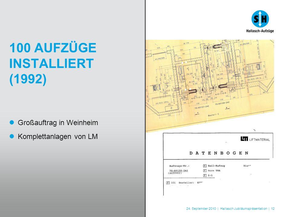 24. September 2010 | Hallasch Jubiläumspräsentation | 12 100 AUFZÜGE INSTALLIERT (1992) Großauftrag in Weinheim Komplettanlagen von LM