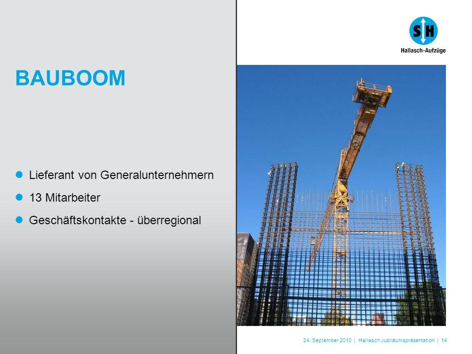 24. September 2010 | Hallasch Jubiläumspräsentation | 14 BAUBOOM Lieferant von Generalunternehmern 13 Mitarbeiter Geschäftskontakte - überregional