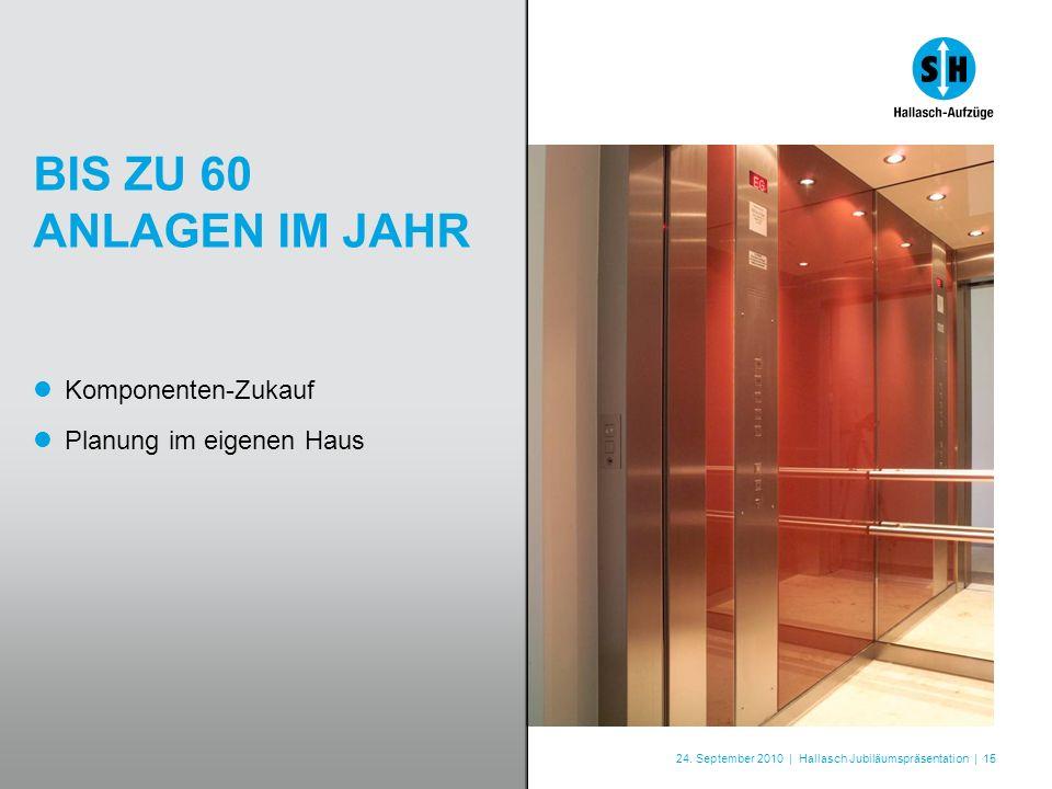 24. September 2010 | Hallasch Jubiläumspräsentation | 15 BIS ZU 60 ANLAGEN IM JAHR Komponenten-Zukauf Planung im eigenen Haus