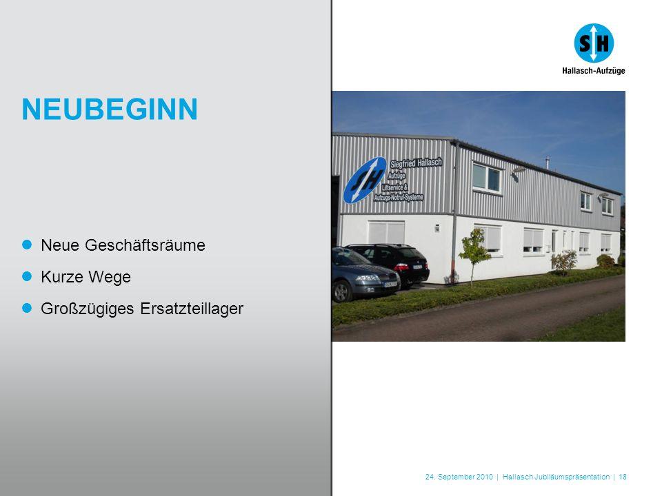24. September 2010 | Hallasch Jubiläumspräsentation | 18 NEUBEGINN Neue Geschäftsräume Kurze Wege Großzügiges Ersatzteillager