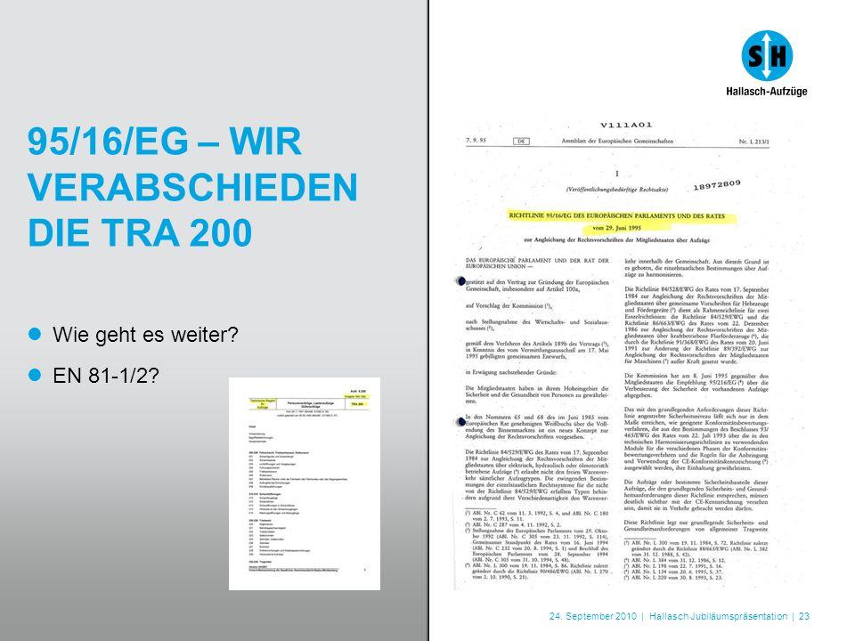 24. September 2010 | Hallasch Jubiläumspräsentation | 23 95/16/EG – WIR VERABSCHIEDEN DIE TRA 200 Wie geht es weiter? EN 81-1/2?