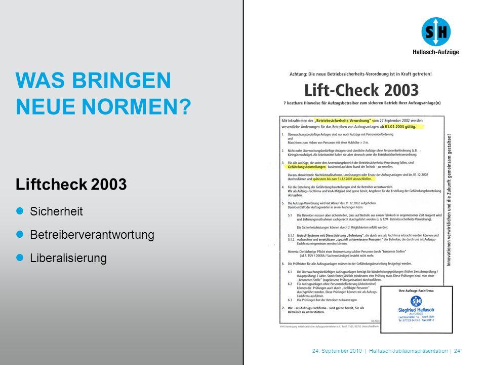 24. September 2010 | Hallasch Jubiläumspräsentation | 24 WAS BRINGEN NEUE NORMEN? Liftcheck 2003 Sicherheit Betreiberverantwortung Liberalisierung