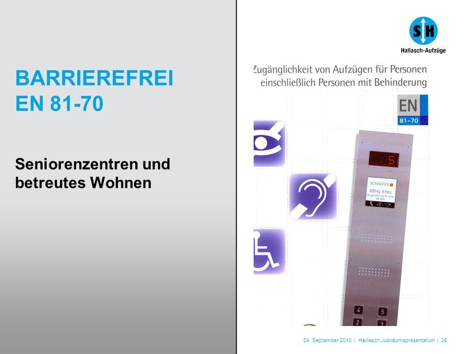 24. September 2010 | Hallasch Jubiläumspräsentation | 25 BARRIEREFREI EN 81-70 Seniorenzentren und betreutes Wohnen