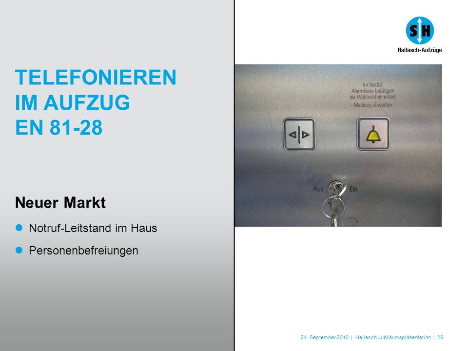 24. September 2010 | Hallasch Jubiläumspräsentation | 26 TELEFONIEREN IM AUFZUG EN 81-28 Neuer Markt Notruf-Leitstand im Haus Personenbefreiungen