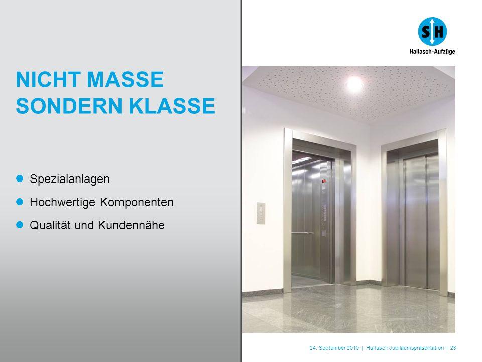 24. September 2010 | Hallasch Jubiläumspräsentation | 28 NICHT MASSE SONDERN KLASSE Spezialanlagen Hochwertige Komponenten Qualität und Kundennähe