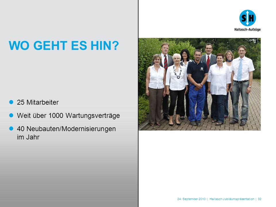 24. September 2010 | Hallasch Jubiläumspräsentation | 32 WO GEHT ES HIN? 25 Mitarbeiter Weit über 1000 Wartungsverträge 40 Neubauten/Modernisierungen