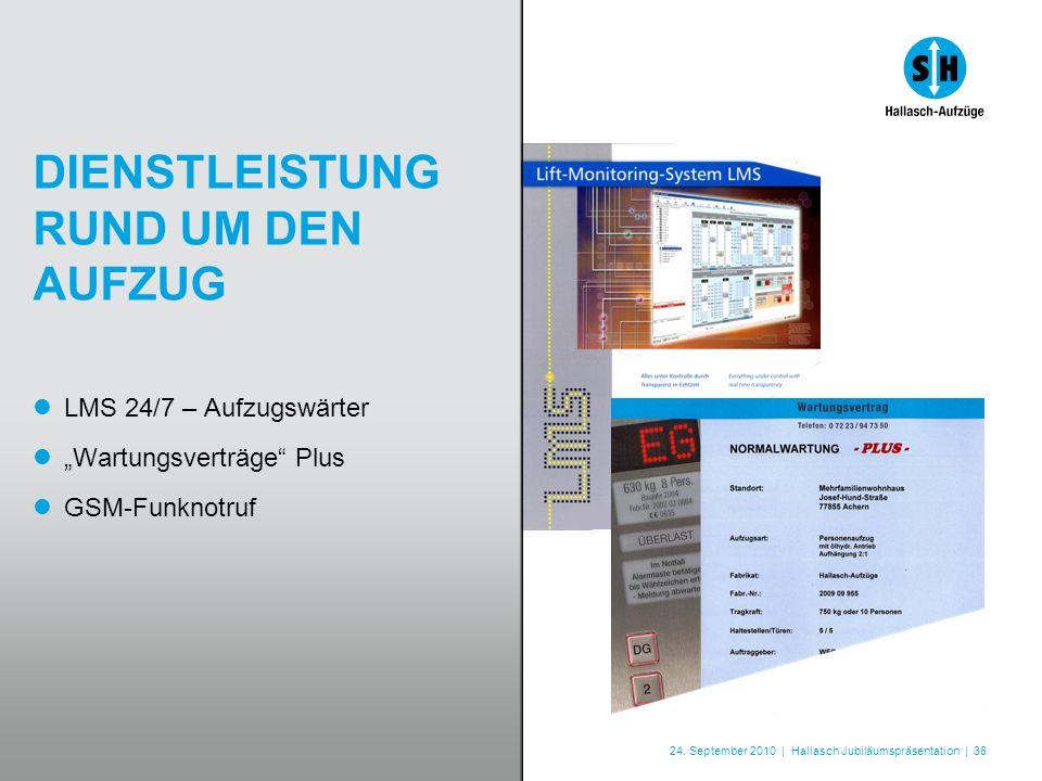 24. September 2010 | Hallasch Jubiläumspräsentation | 38 DIENSTLEISTUNG RUND UM DEN AUFZUG LMS 24/7 – Aufzugswärter Wartungsverträge Plus GSM-Funknotr