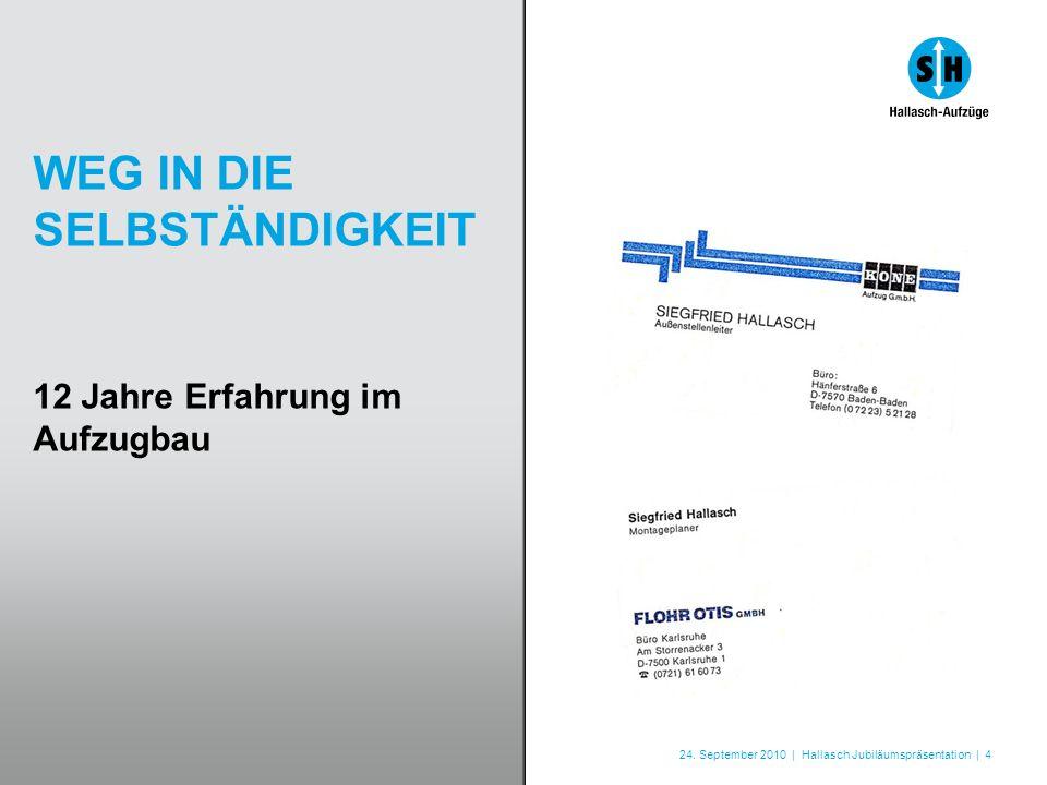 24. September 2010 | Hallasch Jubiläumspräsentation | 4 WEG IN DIE SELBSTÄNDIGKEIT 12 Jahre Erfahrung im Aufzugbau