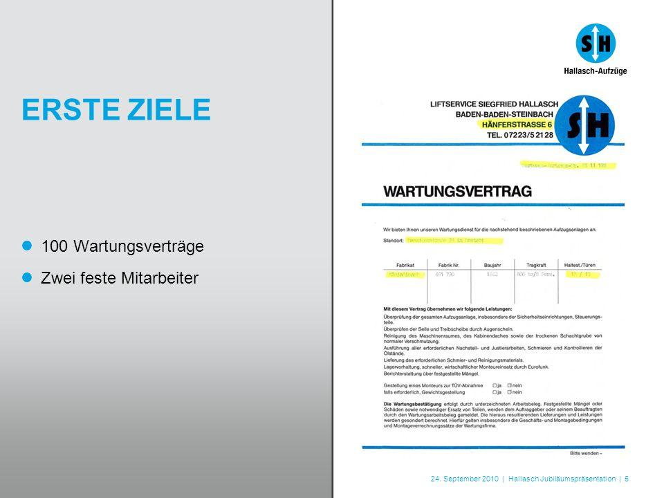 24. September 2010 | Hallasch Jubiläumspräsentation | 5 ERSTE ZIELE 100 Wartungsverträge Zwei feste Mitarbeiter
