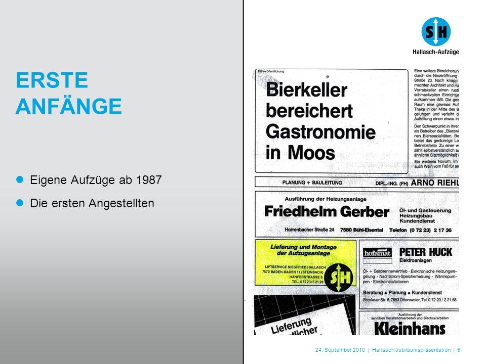 24. September 2010 | Hallasch Jubiläumspräsentation | 6 ERSTE ANFÄNGE Eigene Aufzüge ab 1987 Die ersten Angestellten