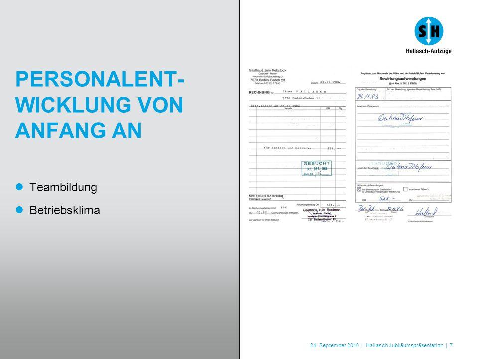 24. September 2010 | Hallasch Jubiläumspräsentation | 7 PERSONALENT- WICKLUNG VON ANFANG AN Teambildung Betriebsklima