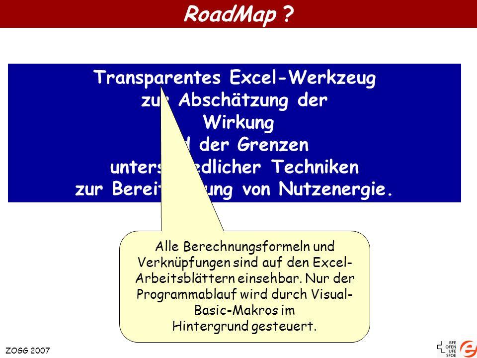 RoadMap ? ZOGG 2007 Transparentes Excel-Werkzeug zur Abschätzung der Wirkung und der Grenzen unterschiedlicher Techniken zur Bereitstellung von Nutzen