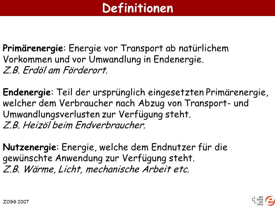 Definitionen ZOGG 2007 Primärenergie: Energie vor Transport ab natürlichem Vorkommen und vor Umwandlung in Endenergie. Z.B. Erdöl am Förderort. Endene